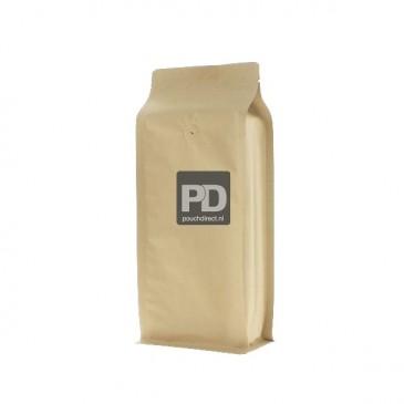 Flat Bottom Pouch brown Kraft paper (valve, no zipper) 95x230+(35+35) mm