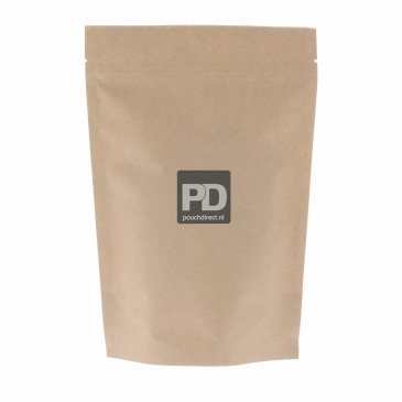Stand Up Pouch brown Kraft paper two layer-190x265+{55+55} mm Aluminium free